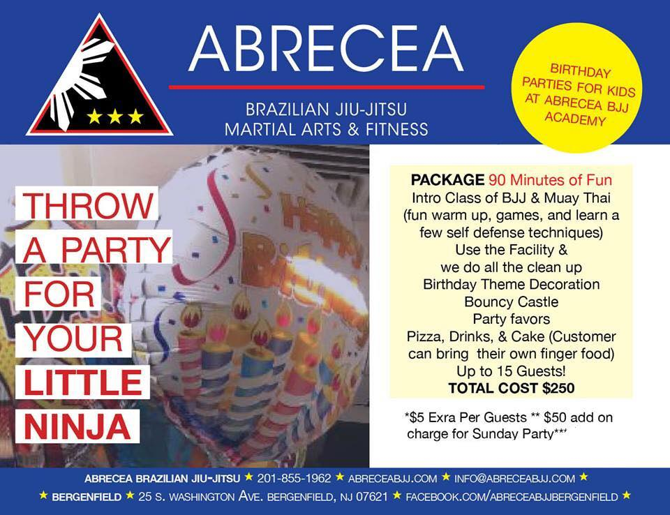 BOOK YOUR KIDS PARTY - ABRECEA BRAZILIAN JIU JITSU ACADEMY
